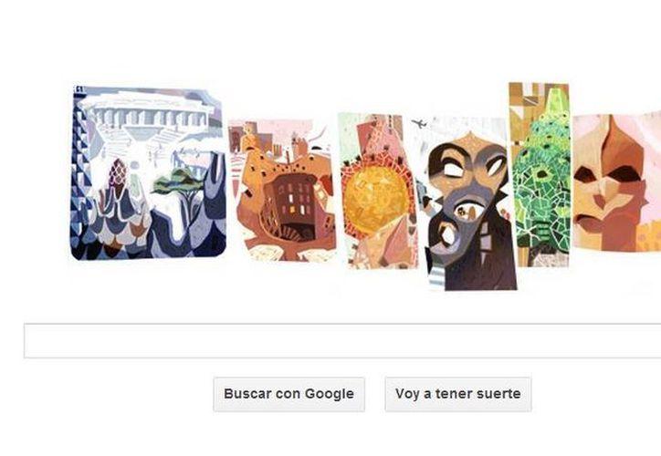 En esta ocasión, las seis letras de Google han sido sustituidas por imágenes de mosaicos o elementos arquitectónicos de Gaudi (SIPSE)