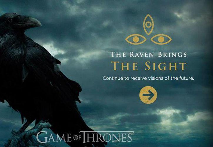 En el avance de la quinta temporada de Games of  Thrones (Juego de Tronos) se lanzó desde una cuenta de Twitter que también lleva a la página del Cuervo de Tres Ojos, uno de los misterios de la serie de televisión de HBO. (threeeyedraven.com)