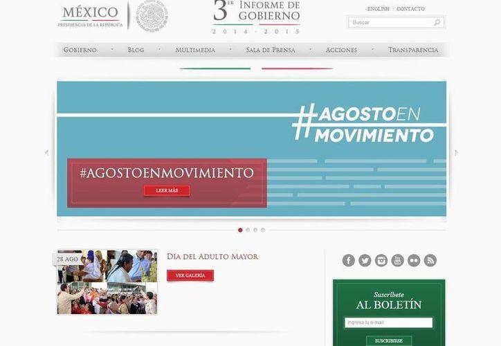 Captura del sitio web de la Presidencia de la República, donde el Gobierno Federal tendrá que publicar sus gastos en publicidad. (presidencia.gob.mx)