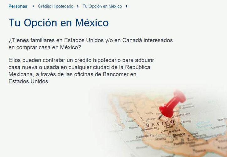 Los paisanos interesados en comprar una casa en México podrán hacerlo en las oficinas de Bancomer en EU. (bancomer.com)