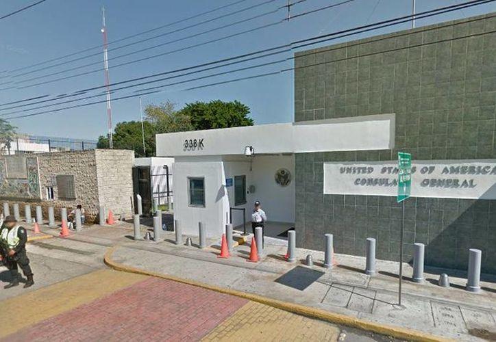 El consulado de Mérida tramita visas con citas programadas vía internet. Imagen de la fachada del Consulado General de los Estados Unidos Mérida. (Google maps)