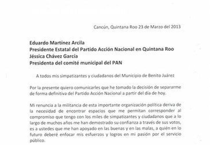 Acuse de recibo del PAN, de la carta de renuncia a ese instituto político de parte de Marybel Villegas Canché. (SIPSE)
