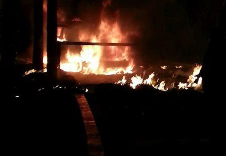Las llamas acabaron con una palapa del Hotel Fiesta Americana Condesa. (Redacción/SIPSE)