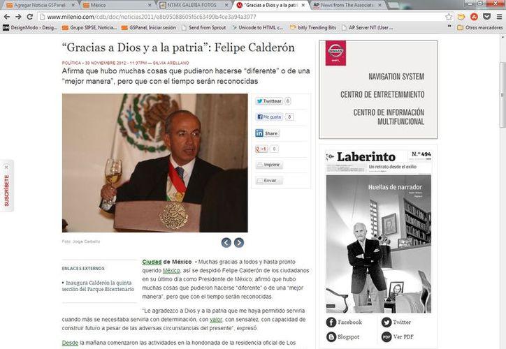 Calderón desayunó este viernes con diputados, almorzó con su gabinete y cenó con jefes de Estado y de Gobierno. (Captura de pantalla de Milenio)