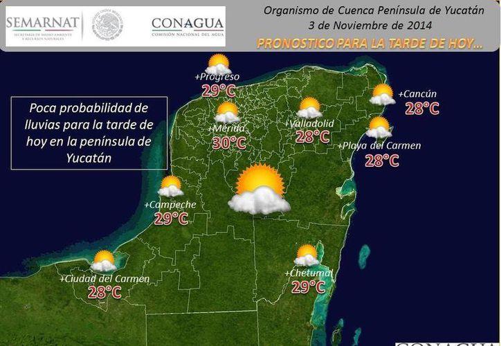 Pronóstico de las condiciones climatológicas que prevalecerán en la Península de Yucatán la tarde este lunes 3 de noviembre. (Conagua)