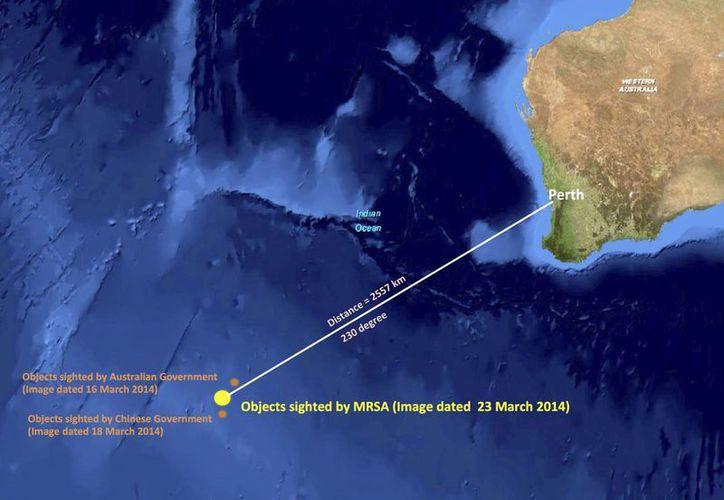 Imagen de satélite de la zona al sur del océano Índico donde fueron fotografiados 122 objetos que podrían ser del avión malayo. (Agencias)