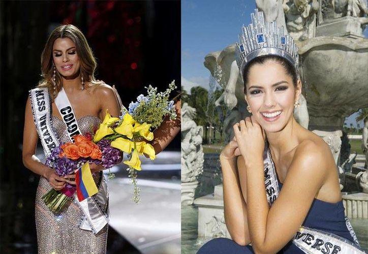 La Colombiana Ariadna (a la izquierda) recibió de la Miss Universo del 2015, Paulina Vega (a la derecha), la corona para después retirársela por el error. (Contexto/Internet)