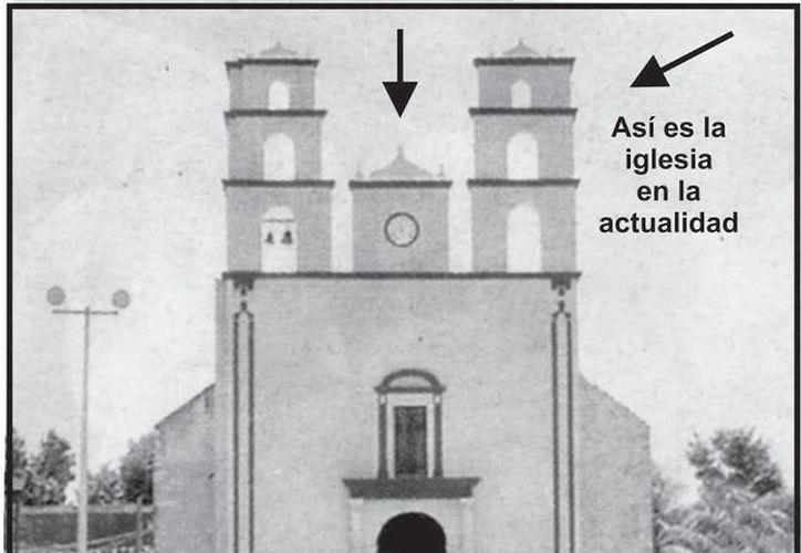 Representación de cómo estaba la iglesia de Acanceh y cómo la vieron durante el fenómeno paranormal. (Jorge Moreno/SIPSE)