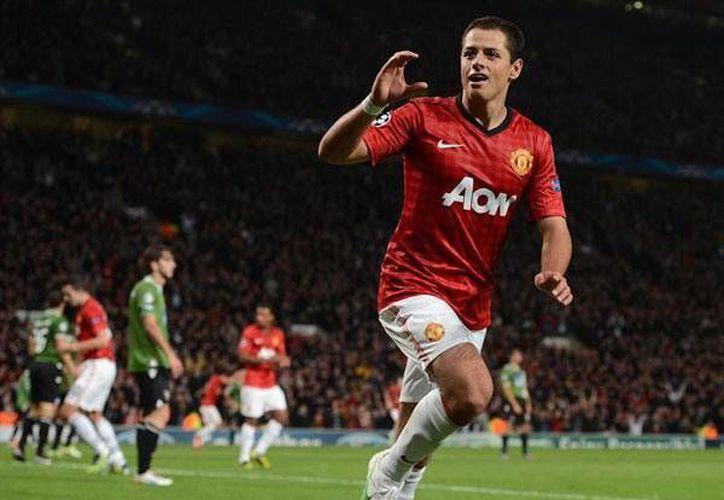 """""""Chicharito"""" ha sido muy contundente con el Manchester United, pero ha jugado poco. (record.com.mx/Archivo)"""
