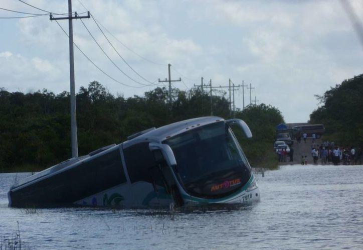 El conductor del autobús viaja solo cuando ocurrió el percance. (Raúl Balam/SIPSE)