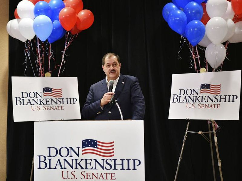 Former Massey Energy CEO Don Blankenship speaks to supporters in Charleston, W.Va.