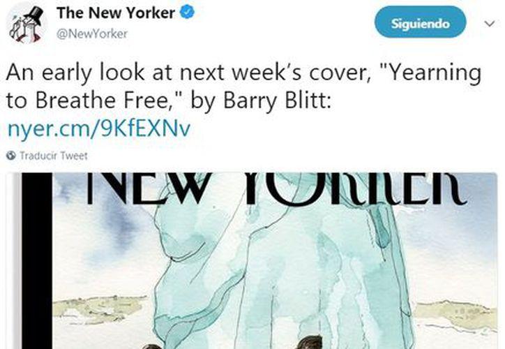 Niños se ponen a salvo de las faldas de la estatua de la Libertad. (Foto: Twitter The New Yorker)