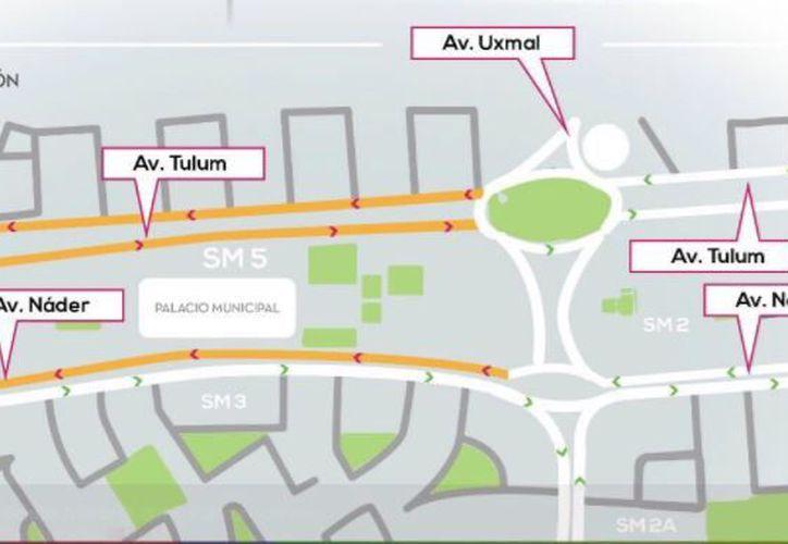La avenida Nader tendrá cerrada la circulación con sentido Norte-Sur, desde el mediodía hasta las 10 de la noche. (Redacción)