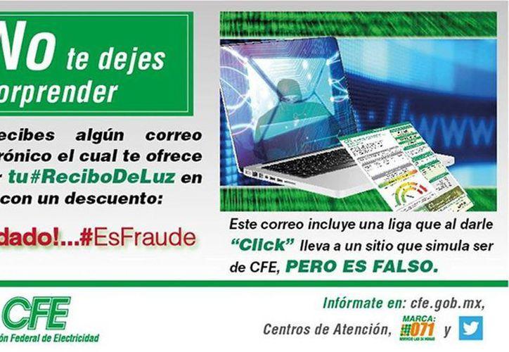 La CFE pide a los usuarios permanecer atentos ante intentos de fraude a través de internet que se han reportado las últimas fechas. (excelsior.com.mx)