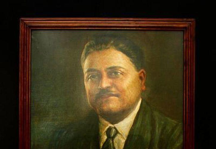 Retrato de Ricardo Palmerín, en la exposición en la ex oficina de Correos. (Milenio Novedades)