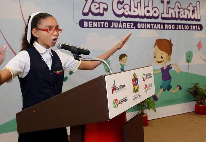 Se preparan niños de Cancún para competir por curul en junio. (Foto: Sipse)