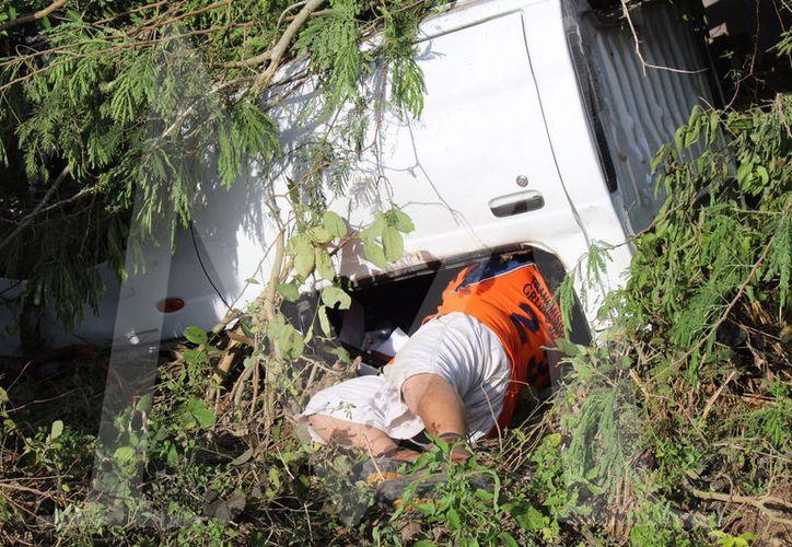Accidentado tuvo mucha suerte en el tramo Motul- Cansahcab de la carretera Mérida-Tizimín.
