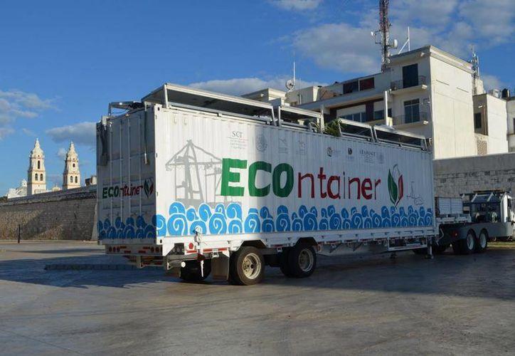 El ECOntainer es un proyecto conjunto de la SCT, Semarnat, Conabio y otras dependencias. También visitó Yucatán. (Cortesía)