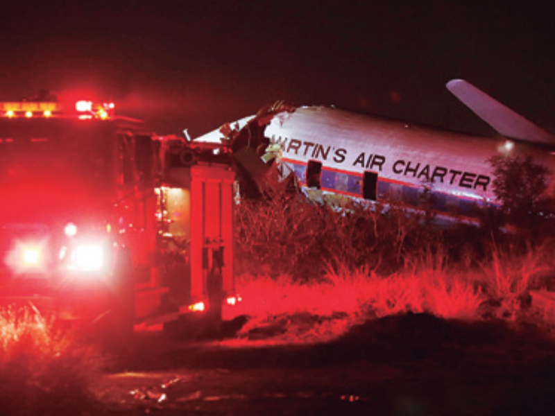 South Africa charter plane crashes; 1 killed, 20 injured.