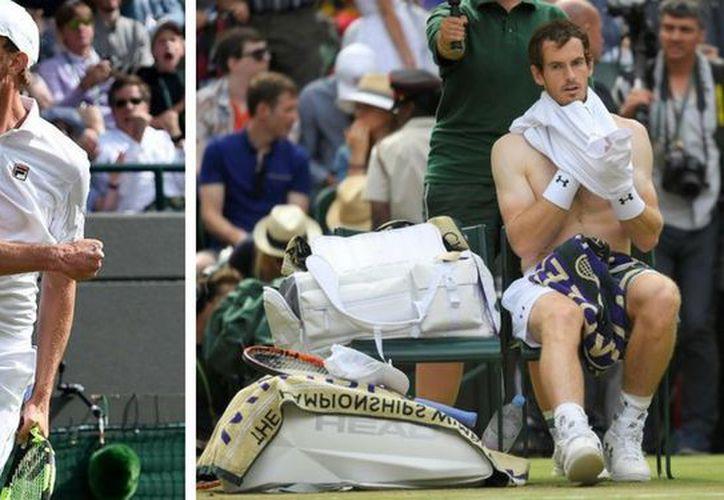 Renqueante entre puntos y desgastado al final, el campeón defensor Andy Murray fue eliminado. (AP).