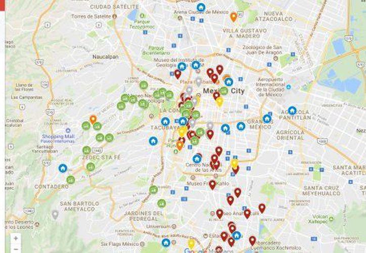 El mapa interactivo muestra los puntos que tienen derrumbes y daños mayores, además se comienzan a enlistar los centros de acopio disponibles.(Especial)