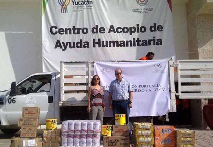 """Toda la ayuda recaudada por la API Progreso fue entregada en el centro de acopio del Centro de Convenciones """"Yucatán Siglo XXI"""".  (Óscar Pérez/SIPSE)"""