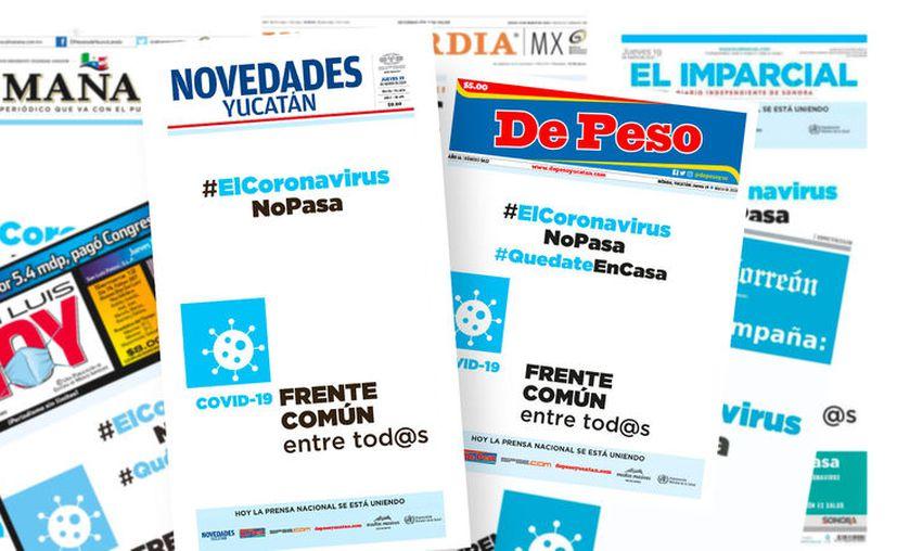 """La mañana de este jueves, los principales periódicos se unieron creando el """"Frente Común entre tod@s"""". (Foto: Especial)"""