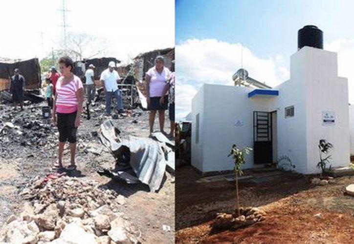 La entrega de casas a afectados por un incendio en la colonia Nueva San José Tecoh II es resultado del Plan Municipal de Vivienda. Las fotos son un comparativo del antes y después del incendio. (Fotos cortesía)