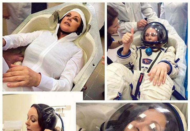 Imágenes que la cantante Sarah Brightman publicó en su cuenta de Twitter, en las que se le puede ver durante su entrenamiento para viajar al espacio. (@SarahBrightman)