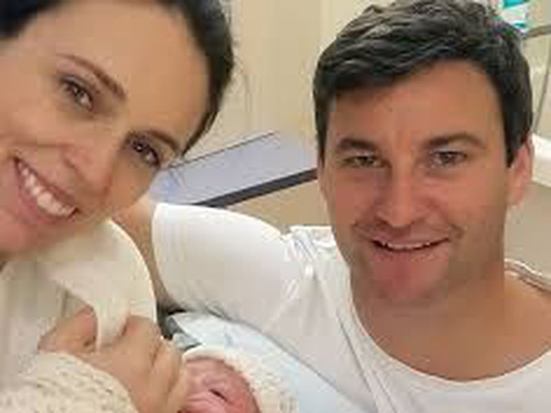 Prime Minster Jacinda Ardern and her partner Clarke Gayford pose with their newborn daughter at the Auckland City Hospital, in Auckland, New Zealand.