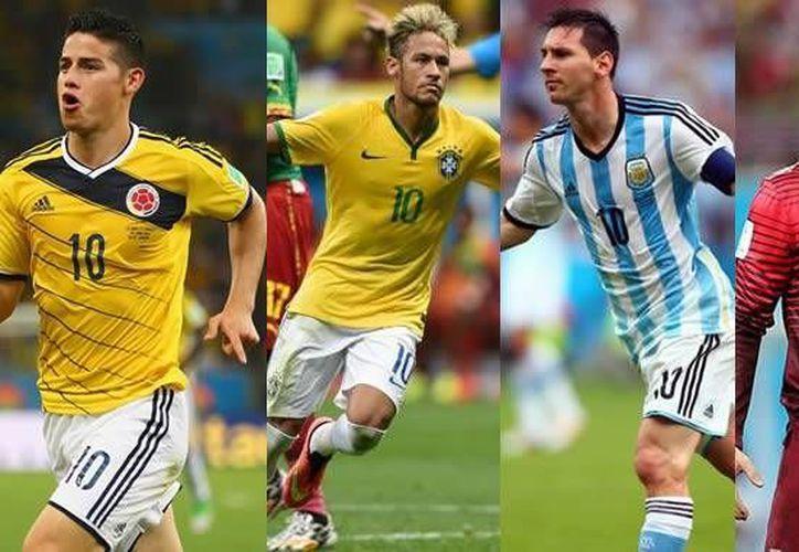 James Rodríguez y Neymar (izquierda) nunca han ganado un Balón de Oro, pero Lionel Messi y Cristiano Ronaldo sí. (comutricolor.com)