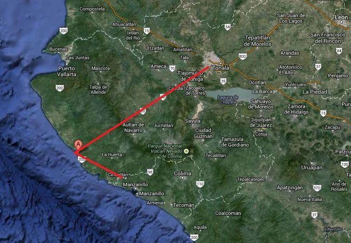 La nave salió de Cihuatlán y haría una escala en Chamela (A) para después continuar hacia Guadalajara. (Google Maps)