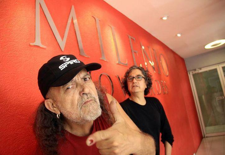 """Francisco Barros """"El Mastuerzo"""" y Armando Vega Gil visitaron las instalaciones de Milenio Novedades para hablar sobre su participación en el Festival Rockultura. (Milenio Novedades)"""