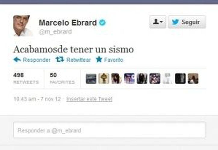 El jefe de gobierno de la Capital informa a sus seguidores los detalles del sismo a través de Twitter. (m_ebrard/Twitter.com)