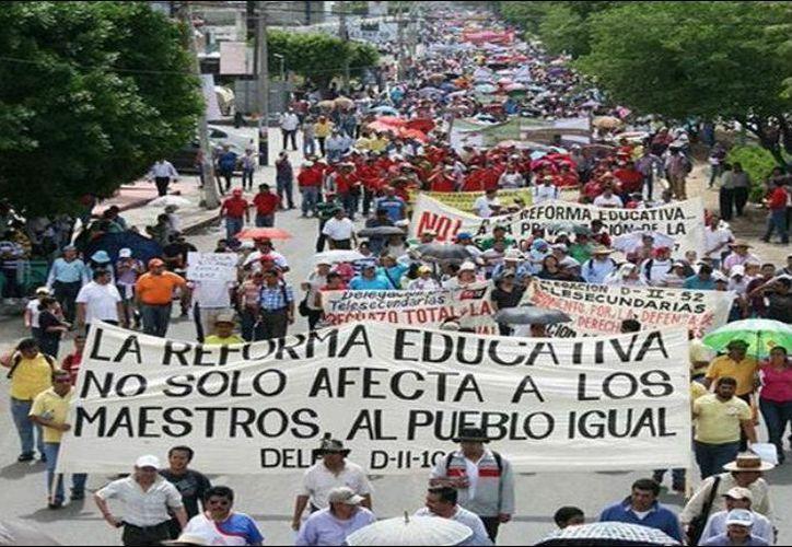Representantes de la Coordinadora Nacional de Trabajadores de la Educación quieren mostrar su rechazo a la reforma educativa. (Internet)