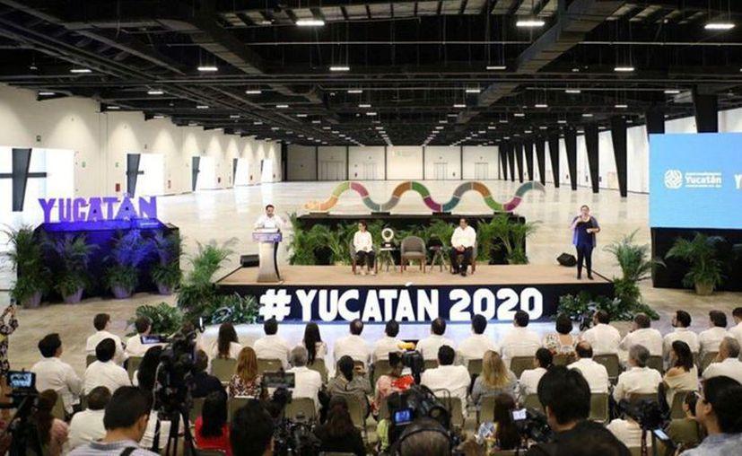 La rueda de prensa en la que presentó los avances del Tianguis Turístico de México 2020, a celebrarse en Mérida del 22 al 25 de marzo. (Novedades Yucatán)
