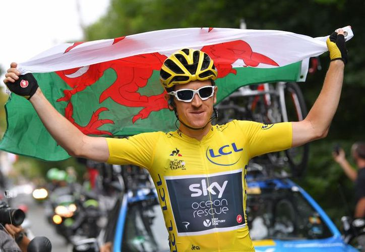 Geraint Thomas no es solo el primer galés que gana el Tour sino también el primer segundo que derroca a su líder. (Twitter)