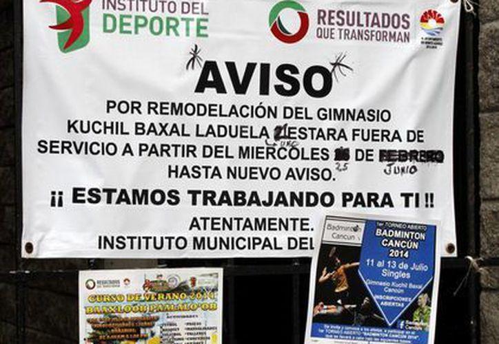 El gimnasio Kuchil Baxal, permanecerá cerrado una semana a partir del 14 de julio, por trabajos de remodelación. (Francisco Gálvez/SIPSE)