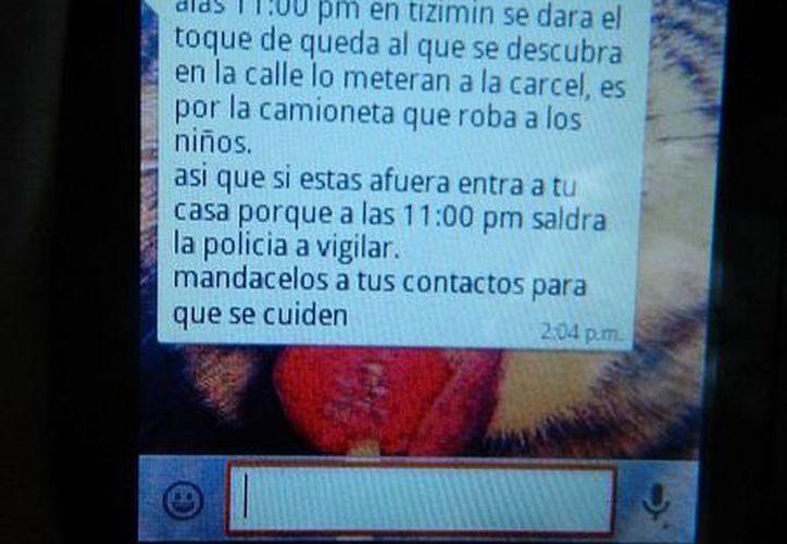 El mensaje que circula en internet de un supuesto toque de queda en Tizimín, a causa de la 'camioneta blanca'. (SIPSE)
