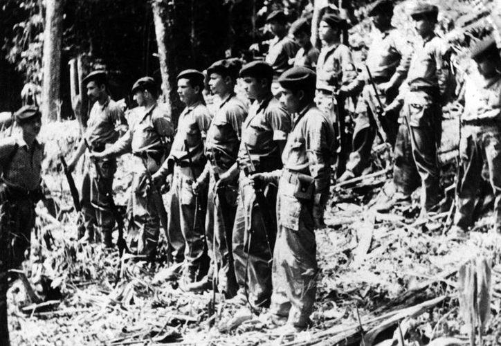 Imagen de archivo de efectivos del ELN (Ejército de Liberación Nacional) durante una ceremonia de condecoración en las montañas colombianas. (EFE/Archivo)