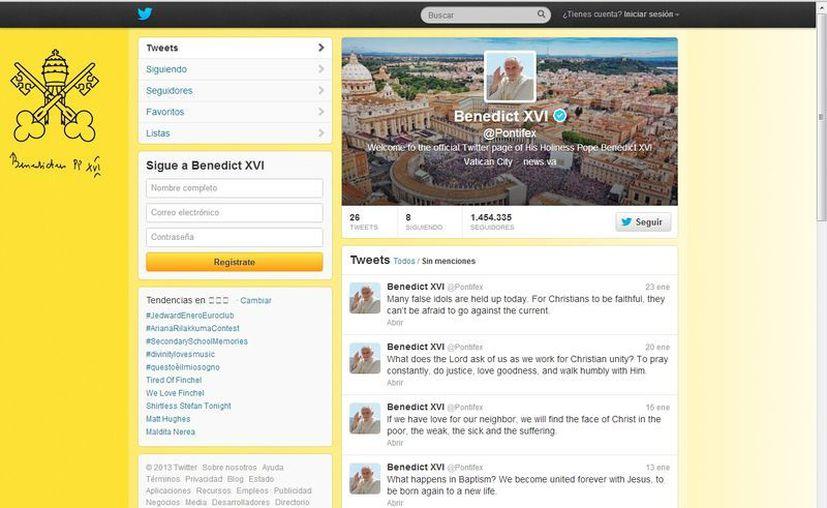 Cuenta en twitter de Benedicto XVI (@pontifex). (twitter)