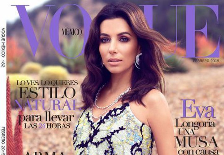 Eva Longoria, quien luce en la portada de la revista Vogue, tiene un romance con un empresario mexicano, pero dice no estar obsesionada con volver a casarse.  (AP)