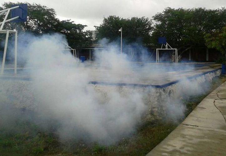 Diferentes regiones de Cancún son nebulizadas para prevenir la transmisión del dengue. (Cortesía)
