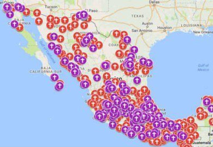 El mapa interactivo sobre feminicidios muestra en qué puntos del país ha habido homicidios. (Impresión pantalla)