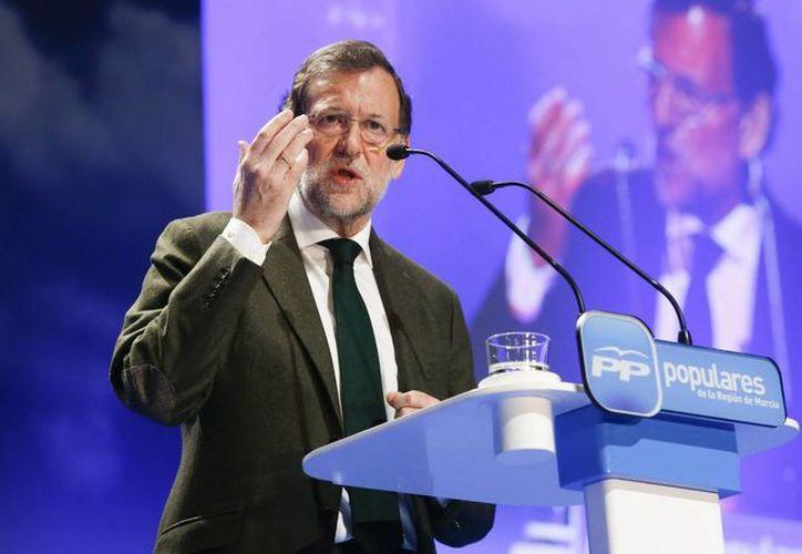El presidente del Gobierno, Mariano Rajoy, durante su intervención en la clausura de la Convención del Partido Popular de la Región de Murcia. (EFE)