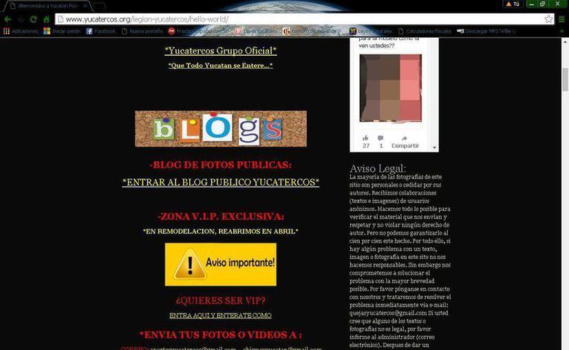 El sitio de internet que administraban los detenidos. (Eric Galindo/SIPSE)