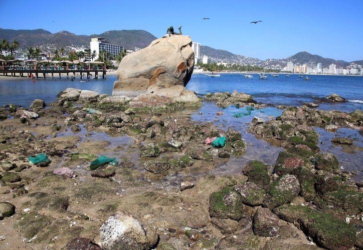 El fondo de piedras fue visible tras la retirada del mar. (Infobae)
