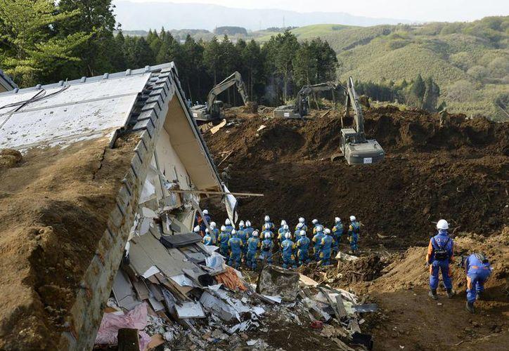 Los agentes de policía continúa una operación de búsqueda en una zona de deslizamiento de tierra, tras el sismo que azotó hace unos días al país. (Agencias)