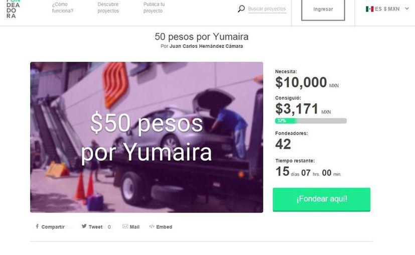 Hasta el momento, la iniciativa en Fondeadora ha captado poco más de tres mil pesos. (Captura de pantalla)