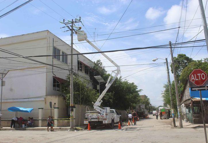 Las labores de mantenimiento se realizaron en líneas del primer cuadro de la ciudad. (Sara Cauich/SIPSE)